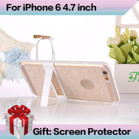 I6 Super Stand Flexible Clear TPU Phone Case For Iphone 6 4.7inch Slim Back Protect Skin TPU+PC Phone Cover for iPhone 6 4.7""
