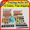 15Color BLK Fairing bolts kit full screw set For YAMAHA YZFR1 00 01 02 03 YZF R1 YZF1000 YZF-R1 2000 2001 2002 2003 Nuts screws