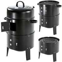 Vertical Bullet Meat Smoker Charcoal BBQ Barbecue Grill