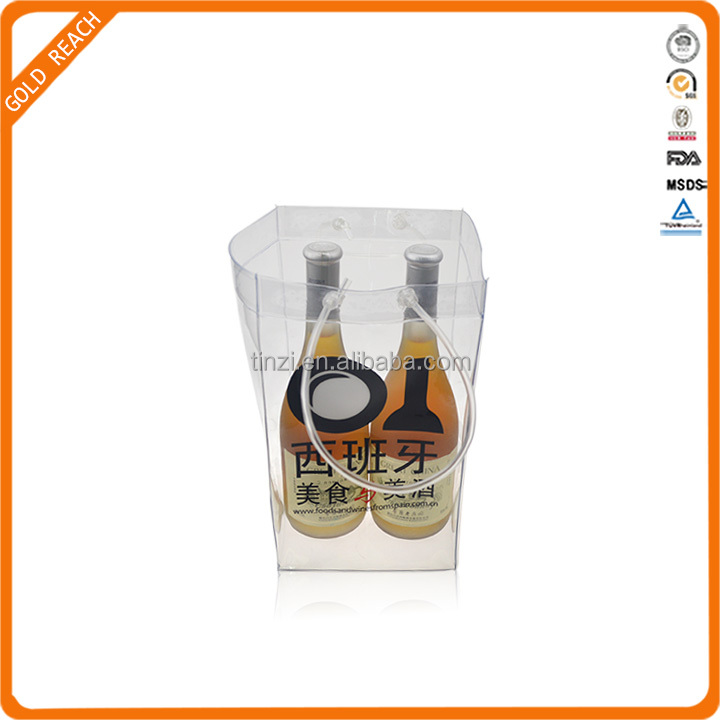 2 Bottle Plastic Wine Carrier Bag for Gift