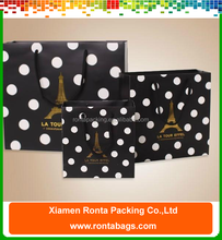 Black White Polka Dots Paper Bags Different Sizes Foldable Shopping Bag Gift Bags with PP String Handles