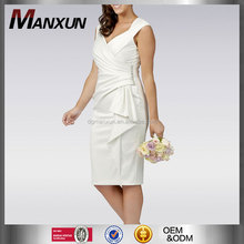 white mid length wedding dress satin wrap knee length casual wedding dress for plus size