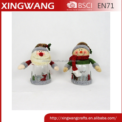 Promotional christmas santa snowman plastic candy jar with applique pattern