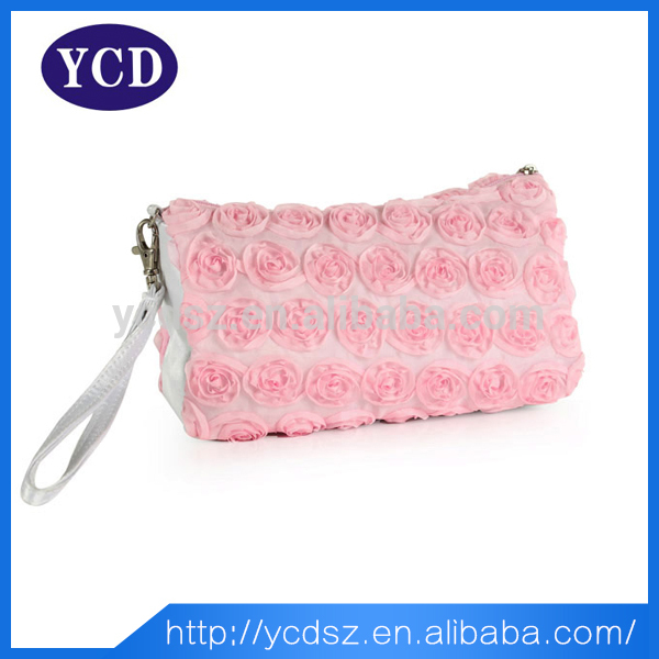 Wholesale miss lady polyester pink rose bag cosmetics
