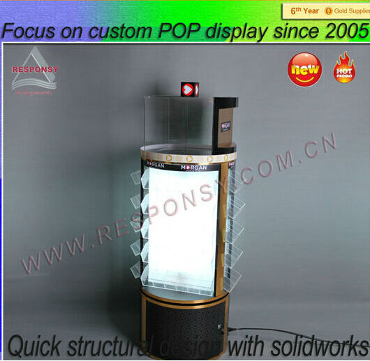 high quality rotating lighter display stand case with led light