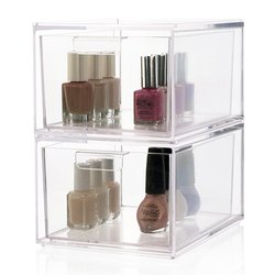 Stackable Clear Acrylic Cosmetic Drawers Organizer, Nail polish bottle holder, Display stand