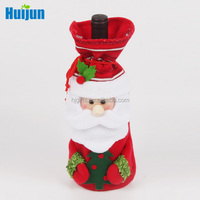 2016 High quality cheap fleece Christmas santa wine bottle gift packaging bag