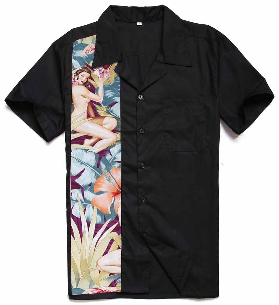Hawaiian Nude Girl Printing Panel Rock <strong>N</strong> Roll Casual Charley Harper Inspired Latest Shirt Designs for Male