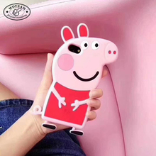 Cartoon Pink Peppa Pig Shape Soft 3D Silicone Phone Case for iphone