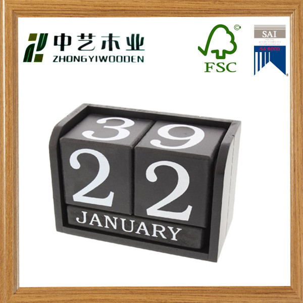 FSC solid pine Black color Wooden Block Perpetual Calendar Desktop Perpetual Calendar Desktop Perpetual Calendar with Stand