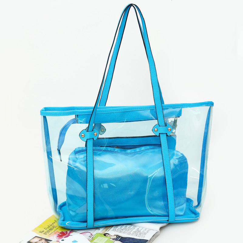 Transparent PVC portable beach bags promotional beach bags