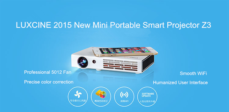 LUXCINE New Arrival Mini Projector / Smart WiFi Projector / 3D Projector Z3 With RAM1.5G ROM20G