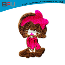 cheap stock little girl Chenille patch chenille cute clothing patches