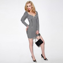 Best seller garment sexy women long sleeve black and white striped sheath dress