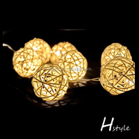Cheap rattan Ball String Lights / Battery operated rattan Ball Light chain/ New design rattan ball fairy light HNL028