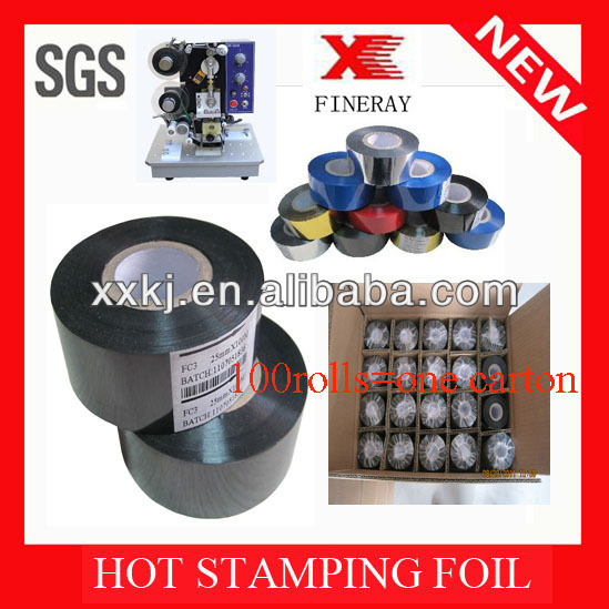 Fineray brand FC2 label batch number coding /Hot Stamping Foil(Ribbon) from XINXIANG FINERAY TECH CO.,LTD
