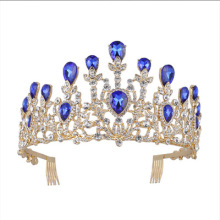 High quality alloy blue rhinestone princess tiara with comb wedding party favors gift set