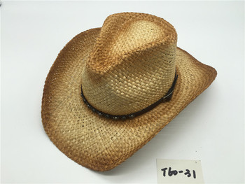 T60-15Wholesale New Style Summer bulk straw cowboy hats Raffie For Mens