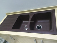JM101 double bowl kitchen sink with drain board