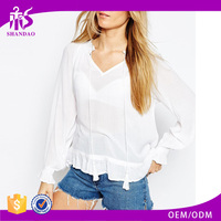 2016 Guangzhou Shandao Factory Sample New Fashion Design Western Modern Autumn Long Sleeve White V Neck Chiffon Lady blouse