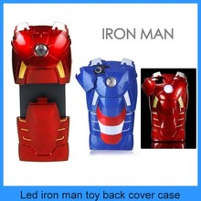 3D Avengers LED Light Marvel Comics Armor Iron Man Mark VII Toy Protective Case Cover For iPhone 5 5G