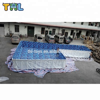 cheap rectangular metal frame swimming pool from china ,adult plastic swimming pool for sale
