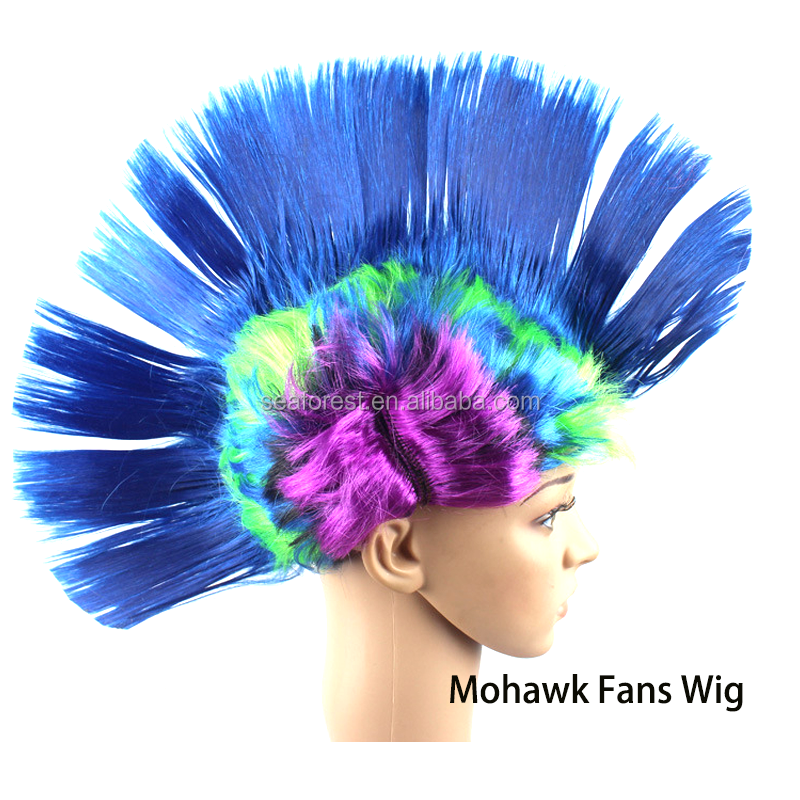 2018 Russia popular PET synthetic custom mohawk fans wig,party mohawk wig for decorative