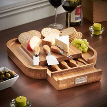 Square Slide Out Bamboo Cheese Board with 4 Piece Knife Set