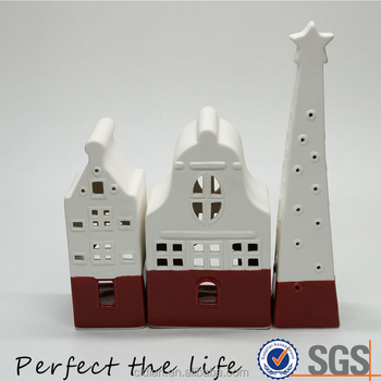 Ceramic Christmas Village House Building Gift Set for Home Decor
