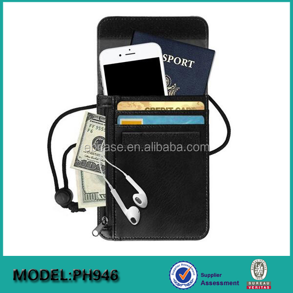 High Quality RFID Blocking leather mobile phone holder passport holder,waterproof passport holder