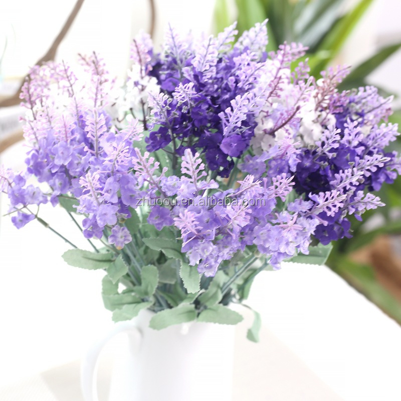 Wholesale Romantic 10 Fork/pcs Purple Bouquets Lavender Artificial Flower Lavender Flowers for Weeding Decoration