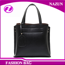 2016 new trend classical black synthetic leather top handle fashion lady shoulder hand bags