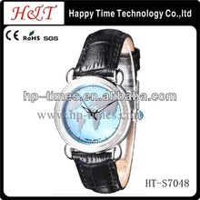 Map Dial Wholesale Stock Leather Strap American Style Watches