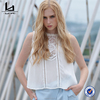 Summer White Lace Sleeveless Short Women Blouse Sweet Cute Casual Girl Tops Hot Sale New Design