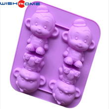JianMei Brand FDA Hot Selling 4 Lovely Monkey Chocolate Silicone Cake Mold