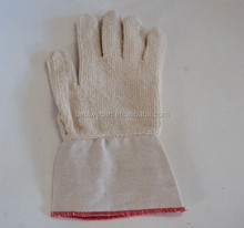heat protection up to 250C Two ply cotton terrry glove with canvas gauntlet for Welder glove
