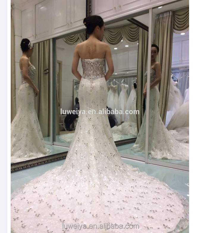 Elegance lace and crystal wedding dresses Off shoulder mermaid high quality wedding dresses 2016