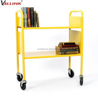 custom made 2 shelf steel rolling library book cart