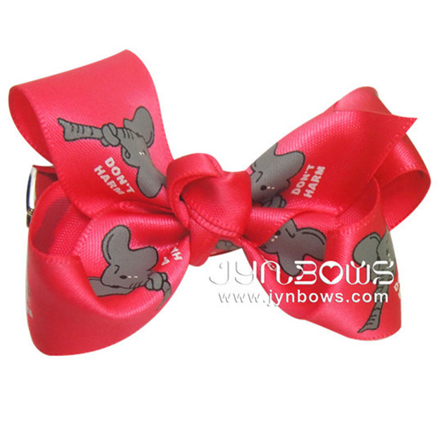Wholesale Grosgrain Ribbon Glitter Initial Hair Bow