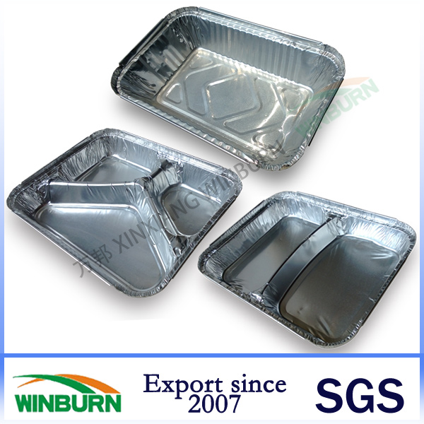 Rectangular Aluminium Foil Lunch Box with 1/2/3 Compartments