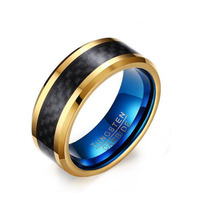 Maralry KSF113 Blue Color Plated Mens Carbon Fiber Tungsten Ring Wedding Engagement Ring Tungsten Carbide Ring