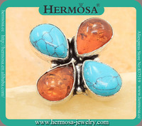 Hermosa Jewelry Multi Natural Gemstone Precious Amber Cooper Turquoise 925 Sterling Silver Three Stone Ring GM1378