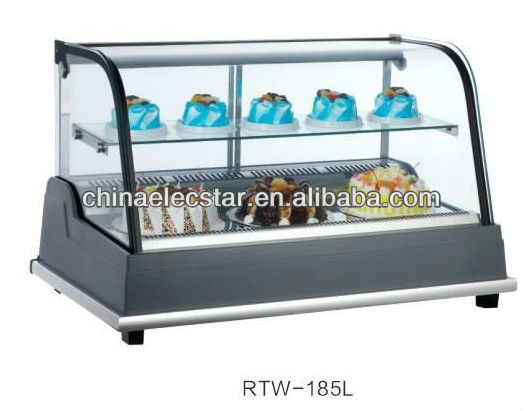 cake display showcase with front flat glass