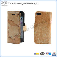 PU Leather Flip Wallet Case For iPhone5 With Stand Leopard Pattern