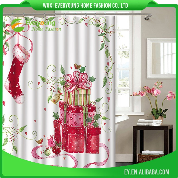 Hot Sale New Style Christmas Design Shower Curtain