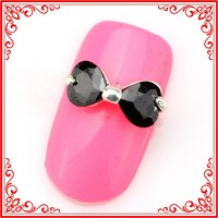 SH511 New Arrive Beauty Fashion 12*5mm Black Bow Tie Style 3d Metal Alloy Rhinestones Nails Decoration