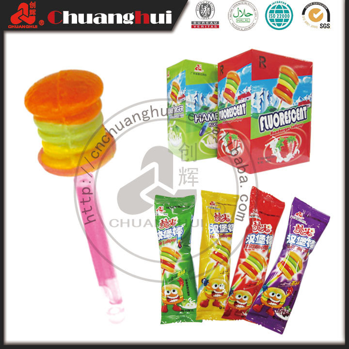 Factory supply Fluorescent Chocolate Milk Flavor Hamburger / Lollipop Glowing Stick