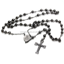 Black Plated Stylish Religious Stainless Steel 6MM Rosary Beads Necklace with Crucifix Cross Pendant For Belief Jesus Christians