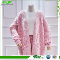 2017 Top Handmade Knitting Sweaters Ladies Extra Long School Uniform Cardigan