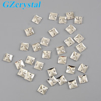 Square shape sew on flat back crystal glass beads